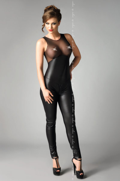 Комбинезон Me Seduce Demi, wetlook, чёрный-L/XL арт.8625